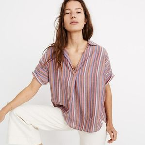Madewell Courier Button Back Rainbow Striped Shirt